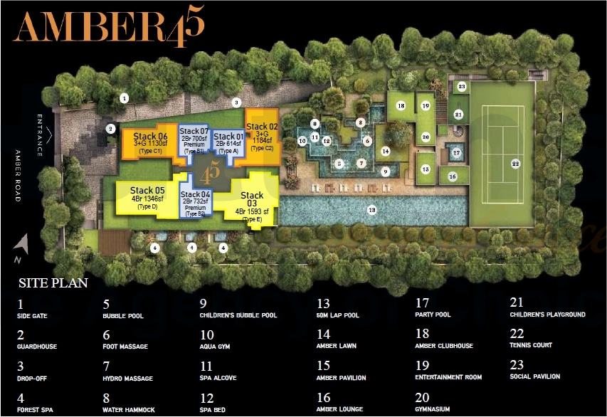 Amber 45 Siteplan 规划设计图与设施